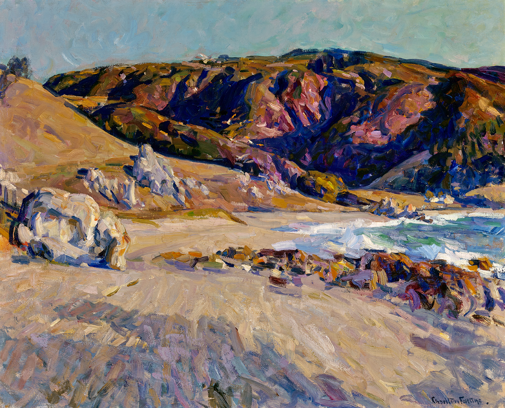 E. Charlton Fortune, The Lonely Shore, c. 1918. Oil on canvas, 31 1/4 x 39 1/4 inches. Collection of W. Donald Head, Old Grandview Ranch, Saratoga, California