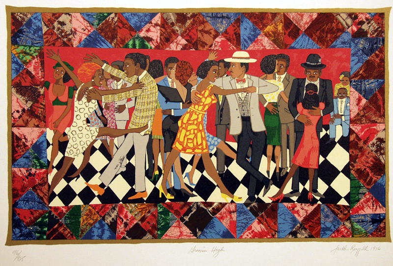 Faith Ringgold (American, born 1930) Groovin' High, 1996 Silkscreen 96/425, 32 1/2 x 44 inches © 2018 Faith Ringgold, member Artists Rights Society (ARS), NY / Courtesy ACA Galleries, NY